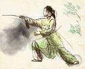 Тайцзи (Тай Чи). полного размера руки drawn иллюстрации — Стоковое фото