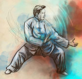 Taiji (Tai Chi). An full sized hand drawn illustration — Stock Photo