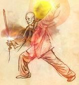 Taiji (Tai Chi). An full sized hand drawn illustration — Stock Photo