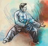 Taiji (Tai Chi). An hand drawn illustration converted into vector — Stock Vector