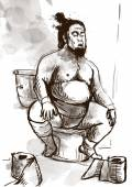 Sumo fighter on the toilet bowl — Stock Photo
