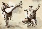 Sumo. An full sized hand drawn illustration in calligraphic style — Stock Photo