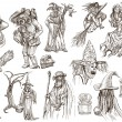 Halloween, Wizard and Witches - An hand drawn vector pack — Stock Photo #54152951