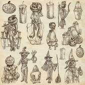 Halloween, Jack o Lantern - An hand drawn collection — Stock Photo