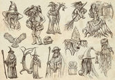 Halloween, Wizard and Witches - An hand drawn collection — Stock Photo