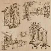 Halloween, Cemeteries - An hand drawn vector pack — Stock Vector