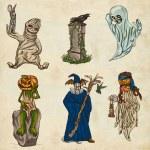 Halloween avatars - an hand drawn pack — Stock Photo #54510735
