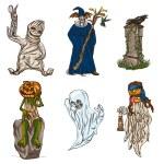 Halloween avatars - an hand drawn pack — Stock Photo #54510741