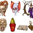 Halloween Avatars - An hand drawn full sized illustrations, pack — Stock Photo #54636425