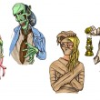 Halloween Avatars - An hand drawn full sized illustrations, pack — Stock Photo #54636435