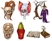 Halloween Avatars - An hand drawn full sized illustrations, pack — Stock Photo