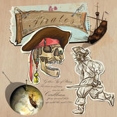 Pirates - Golden Age. Hand drawn and Mixed media — Stockvector