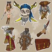 Pirates - an hand drawn colored vector pack no.1 — Stock Vector