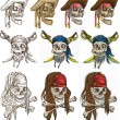 Pirates - Pirate skulls collection, hand drawings — Stock Vector #56348617