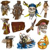 Pirates - colored full sized hand drawn illustrations no.1 — Stock Photo