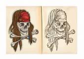 Children's coloring book - Skull — Stock Vector