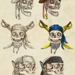 ������, ������: Pirates skulls collection Full sized hand drawings on paper