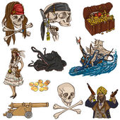 Pirates - colored full sized hand drawn illustrations no.2 — Stock Photo