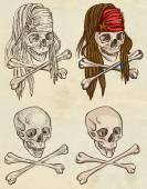 Pirates - skulls collection. Full sized hand drawings on paper. — Stock Photo