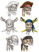 Pirates - skulls collection. Full sized hand drawings on white. — Stock Photo