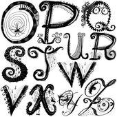 Curly playful alphabet - O to Z — Stock Photo