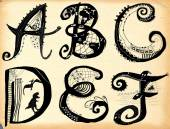 Curly playful alphabet - A to F — Stock Photo