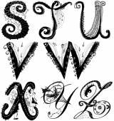 Curly playful alphabet - S to Z — Stock Photo