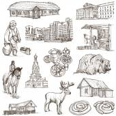 Belarus: Travel around the World. An hand drawn illustration. — Stock Photo