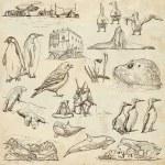 Polar Regions: Travel around the World. Freehand drawings. — Stock Photo #58619589