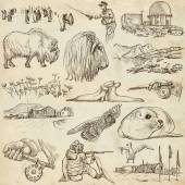 Polar Regions: Travel around the World. Freehand drawings. — Stock Photo
