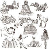 Hong Kong traveling - full sized hand drawn illustration no.1 on — Stock Photo