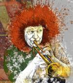Musician: Trumpet Player (mixed mdia art) — Stock Photo