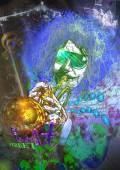 Musician: Trumpet Player (mixed mdia art) — Stock Photo
