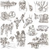 Jamaica Travel - Full sized hand drawn pack on white — Stock Photo