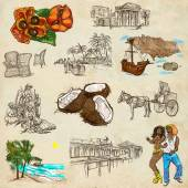 Jamaica Travel - Full sized hand drawn pack on paper — Stock Photo