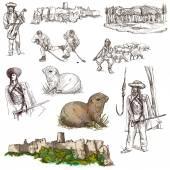 Travel: Slovakia. Pack of full sized hand drawn illustrations. — Stock Photo