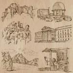 Постер, плакат: Architecture Famous places Hand drawn vectors