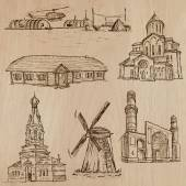 Architecture, Famous places - Hand drawn vectors — Stock Vector
