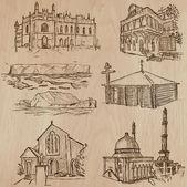 Architecture, Famous places - Hand drawn vectors — Stockvektor