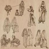Muslim Women - Hand drawn vectors — Stockvektor