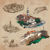 Montenegro. Hand drawn vector pack. — Stock Vector