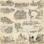Famous places and architecture - hand drawings — Stockfoto