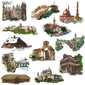 Places nad architecture - full sized hand drawings — Stock Photo