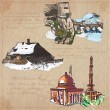 Постер, плакат: Places nad architecture hand drawn vector pack