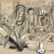 Smoking Hookah (Harem) - An hand drawn full sized illustration — Stock Photo #64707769