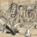 Smoking Hookah (Harem) - An hand drawn full sized illustration — Foto de Stock   #64707769