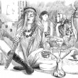 Smoking Hookah (Harem) - An hand drawn full sized illustration — Foto Stock #64707795