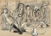 Smoking Hookah (Harem) - An hand drawn full sized illustration — Stock Photo