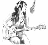Smoking. Guitar player. An hand drawn full sized illustration. — Stock Photo