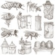 Bees, beekeeping and honey - hand drawn illustrations — Stock Photo #66847327
